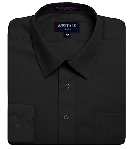 Kids Boys Solid Color long sleev Dress Shirts-Black-20