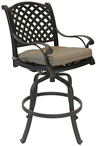 - K&B PATIO LD1031-7c26 Nassau Bar Stool with Cushion, 26