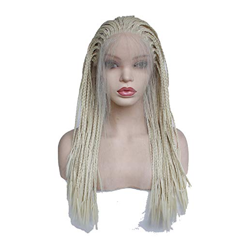 Braid Sealer - Natural Long Platinum Blonde Wig with Baby Hair Heat Resistant Fiber Lace Front Braid Wig,24inches,#613,180%