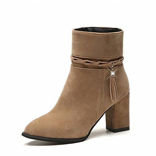 36 Latérale Martin Eur 5 Bottes Chameau Féminines Mode En Pointus Des Rugueux De Daim Avec À La Glands Chaussures Glissière TqnZWzEE