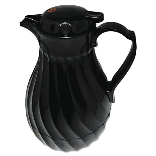 Hormel - Poly Lined Carafe, Swirl Design, 64 oz. Capacity, Black - Sold As 1 Each - Polyurethane insulation keeps beverages hot or cold.