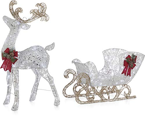 NOMA Pre-Lit LED Light Up Reindeer and Sleigh Set | Christmas Holiday Lawn Decoration | Indoor/Outdoor