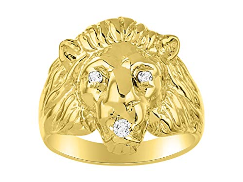 Lion Head Ring set with Genuine Diamonds in Mouth and Eyes set in Yellow Gold Plated Silver .925