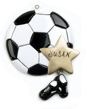 Personalized Soccer Player Sports Ball and Black Cleats Shoes with Gold Star Hanging Christmas Ornament with Custom Name