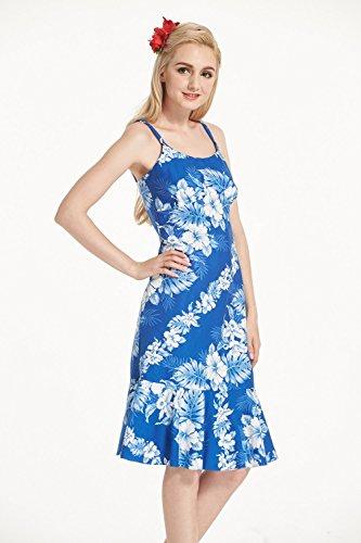 Hecho en Hawai Mujeres Hawaiian Luau elegante vestido de volantes en Azul con hibisco blanco del panel Blue with White Panel Hibiscus
