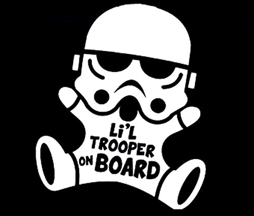 Lil trooper on board car decal sticker 6x8inch black or white