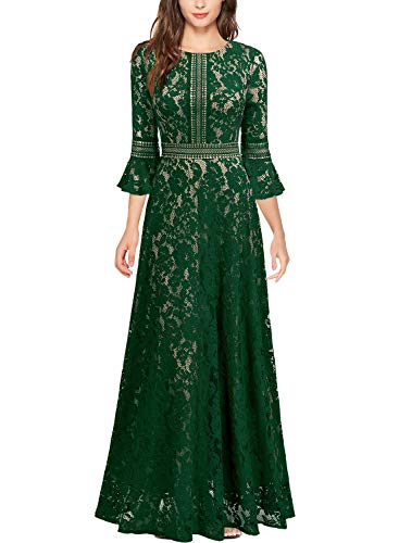 MISSMAY Women's Vintage Full Lace Contrast Bell Sleeve Formal Long Dress Small Green