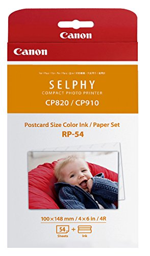(Canon RP-54 Color Ink/Paper Set, Compatible with SELPHY CP910/CP1200/CP1300)