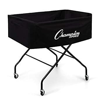 Image of Ball Storage Champion Sports Volleyball Cart with Wheels, Holds up to 40 Balls - Collapsible, Portable Ball Storage with Sturdy Aluminum Frame, Hammock Style Bag - Premium Volleyball Equipment and Accessories