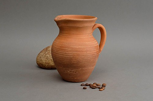 Handmade Clay Pitcher For Water 600 Ml Ceramic Kitchen Eco Friendly Pottery