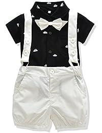 US Baby Boys Bowtie Gentleman Romper Jumpsuit Overalls Rompers
