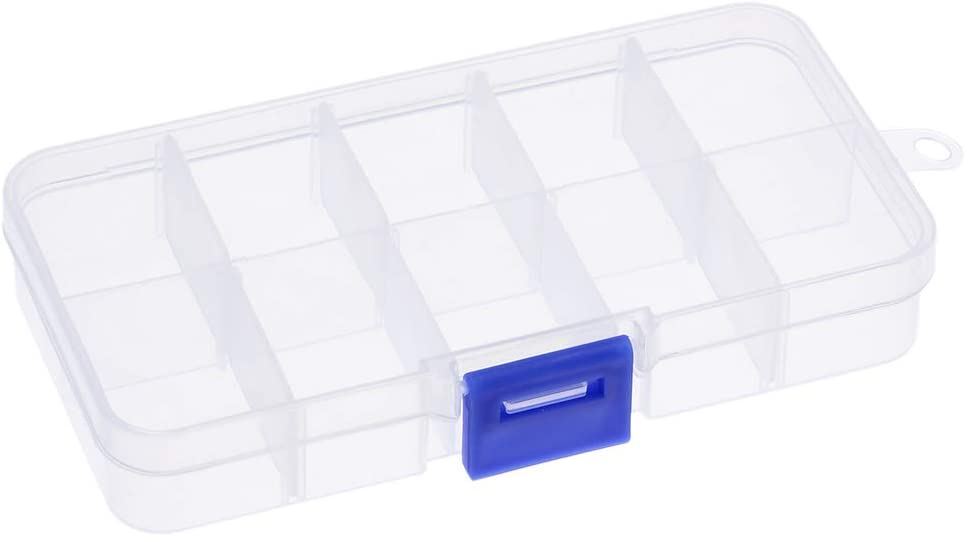 uxcell Clear Jewelry Box - Plastic Bead Storage Container, Earrings Storage Organizer with Adjustable Dividers, 10 Compartments