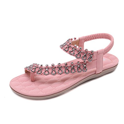 Sandales Femme Flops Confort Paillettes élastique Bohème Flip Summer Strass Rose Rose Beach Flat JRenok String A0Bx0w