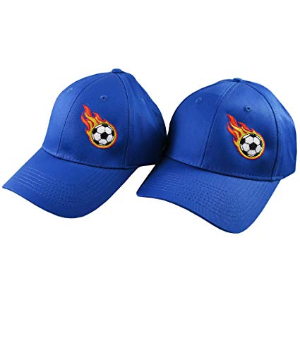 (Pair of Sporty Soccer Ball Fire Bullet Embroidery Designs on 2 Royal Blue Adjustable Structured Baseball Caps for Adult + for Child Age 6-14)
