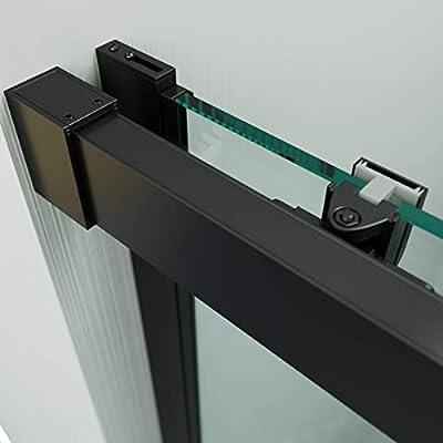 VAROBATH .Mampara de ducha con apertura frontal de puerta corredera, perfil NEGRO y cristal transparente con 6 mm de grosor. Disponible en varias medidas (127 a 136): Amazon.es: Bricolaje y herramientas