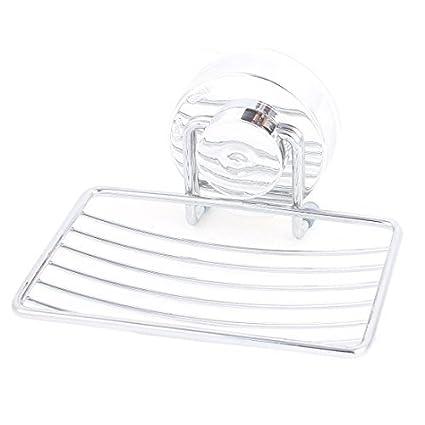 eDealMax stailness Acero Baño ventosa jabón soporte del contenedor de tono de Plata