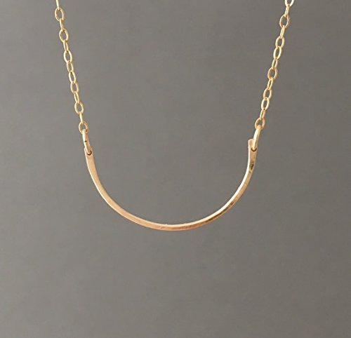 Hammered Curved Gold Fill Bar Necklace also in Sterling Silver and Rose Gold