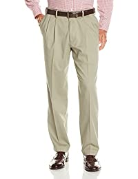 Men's Relaxed Fit Comfort Khaki Pleated Pants D4
