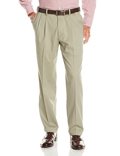 Dockers Men's Relaxed Fit Comfort Khaki Cuffed Pants-Pleated D4, British Khaki (Stretch), 33W x 30L ()