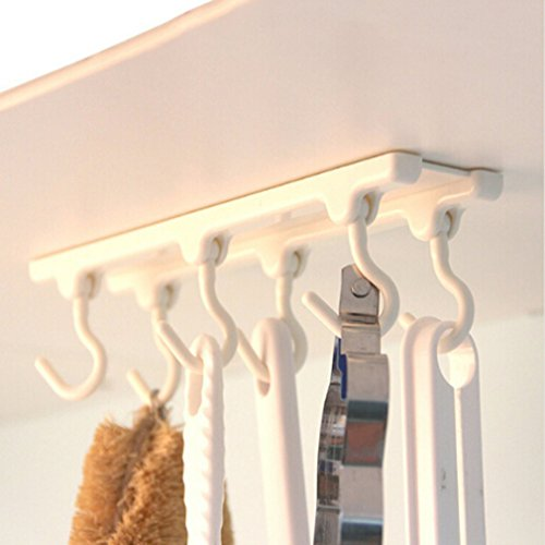 Ceiling Kitchen (SOURBAN Kitchen Ceiling Hanging Cabinets Storage Rack Hooks Ceiling Hanging Rod Tool White)