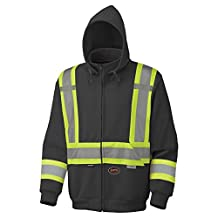 Pioneer V1060471-L High Visibility Hoodie-Polyester Fleece, Black, Large