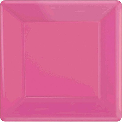 Amscan 69920.103 Square Paper Tableware Plastic Plates, 10