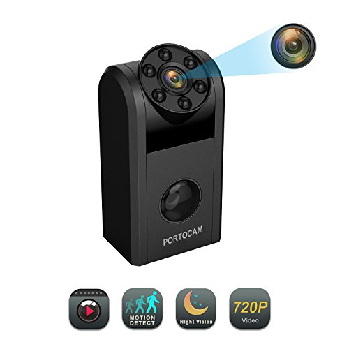 Hidden Spy Camera, PORTOCAM 720P Mini Spy Camera with Night Vision, Motion Detection Camera Portable Video Recorder for Home Security Surveillance (Video Only)