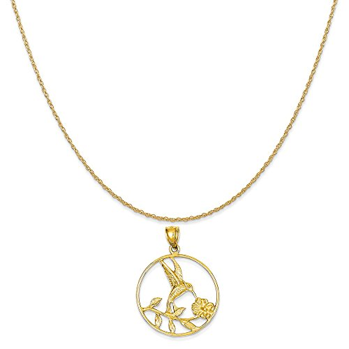 Mireval 14k Yellow Gold Hummingbird in Round Frame Pendant on 14K Yellow Gold Rope Chain Necklace, 18