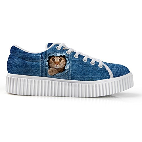 Câlins Idée Chat Visage Impression Casual Plate-forme Sneakers Bout Rond Chaussures Basses Coupe Bleu 4