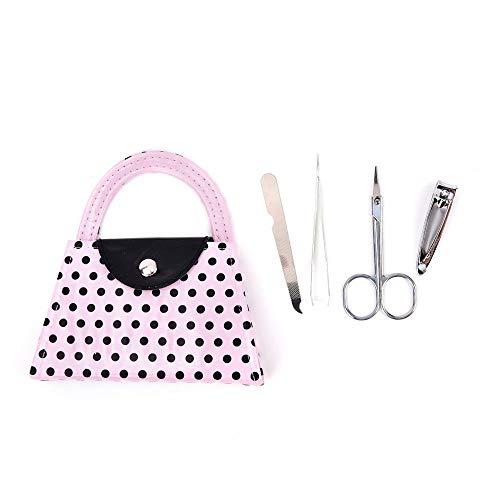 (Design Beauty Health Manicure Set Polka Dot Pink Wedding Favors Nail Tool Set)