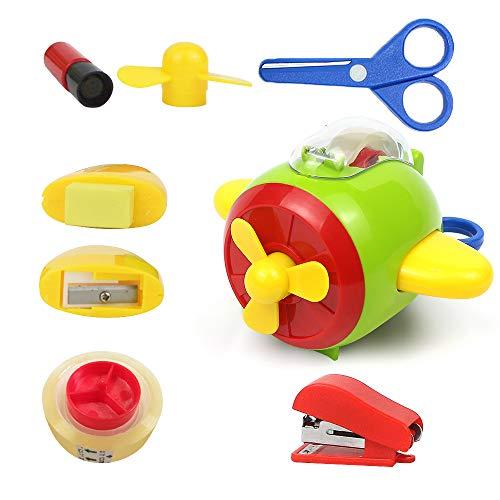 - Mixoffy Plastic Toy Airplane Stationery Set with Tape Dispenser, Scissor, Eraser, Sharpener, Stapler, Signet for Kids Craft, Creative Skill Development Educational Toys, Activity Kit, Gift for Kids