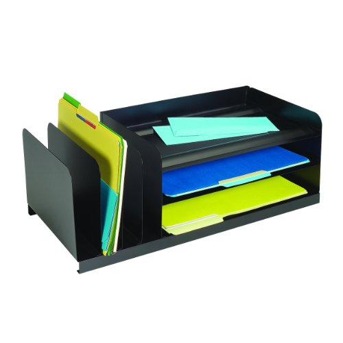 Combination Desk Organizer (MMF Industries Legal-Size Steel Vertical/Horizontal Combination Desk Organizer, Black)