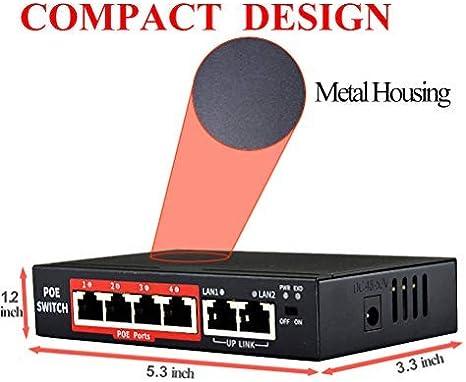 2 Uplink + 4 POE Ports 10//100M 802.3at//af RJ45 POE Switch,48V 65W ,Unmanaged Network Extender Power Over Ethernet for IP Camera Outdoor Indoor Miline