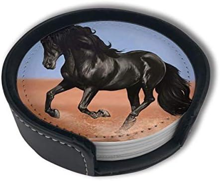 BJAMAJ woestijn zwart paard Premium PU lederen onderzetters drinken ronde onderzetters met houder sets geschikt voor thuis en keuken 6PCS