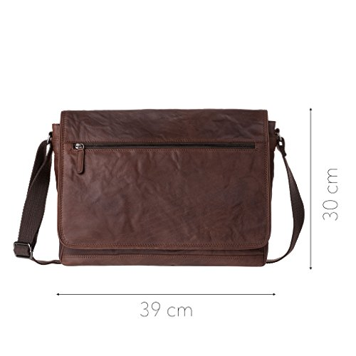 DUDU Bolso Hombre bandolera Verdadera piel arrugada Vintage Messenger bag Marron