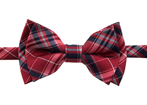 Retreez Stylish Plaid Checkered Woven Microfiber Pre-tied Boy's Bow Tie - Red and Navy Blue - 24 months - 4 years