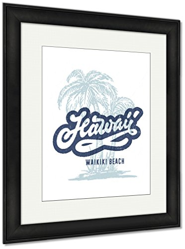 Ashley Framed Prints Hawaii Waikiki Beach Vintage D Hand Lettered T Shirt Apparel Fashion, Wall Art Home Decoration, Color, 30x26 (frame size), Black Frame, AG6037348 1970s Hawaiian Shirt