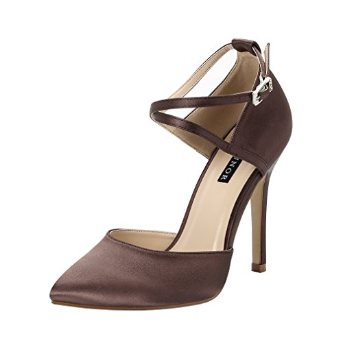 ERIJUNOR E2264 Women High Heel Ankle Strap Satin Pumps Evening Prom Wedding Shoes Dark Brown Size 8