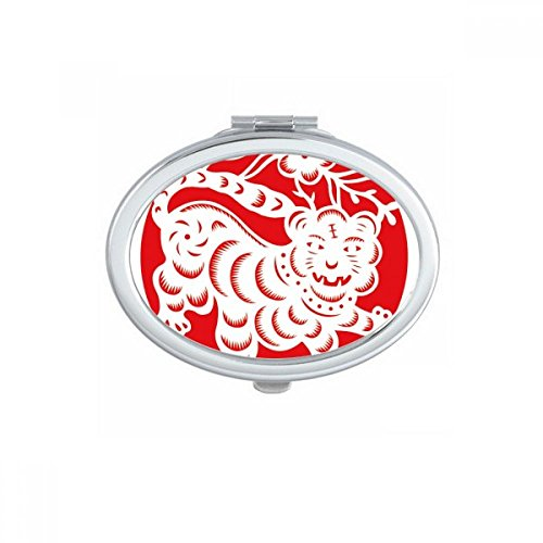 DIYthinker Paper-cut Tiger Animal China Zodiac Art Oval Compact Makeup Mirror Portable Cute Hand Pocket Mirrors Gift by DIYthinker