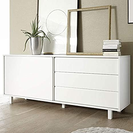 M-012 aparador Puerta corredera Design Blanco Lacado Palazio: Amazon.es: Hogar