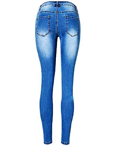 Strappati Jeans Blu Sbiadito Skinny Donne 8pxSwqzW7