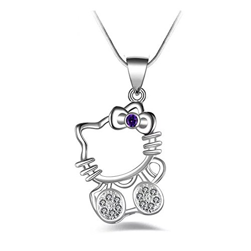 UUONLY Hello Kitty Pendant Necklace/Cute Cat Pendant Necklace/Naughty Cute Lucky Cat Pendant Necklace/Lovely Kitty Cat Necklace for Girls