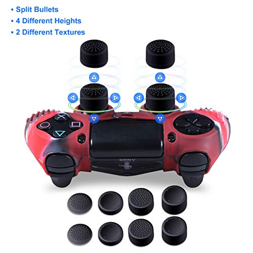 Silicone Skins for PS4 controller - Anti-slip Silicone Cover Skin for Sony Playstation 4/Slim/Pro Controller - 2 x PS4 Controller Cover Skin with 8 x ...