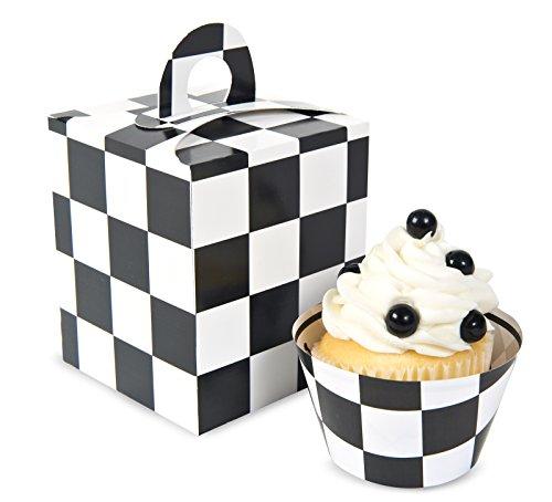 BirthdayExpress Black & White Checked Cupcake Boxes (4) -