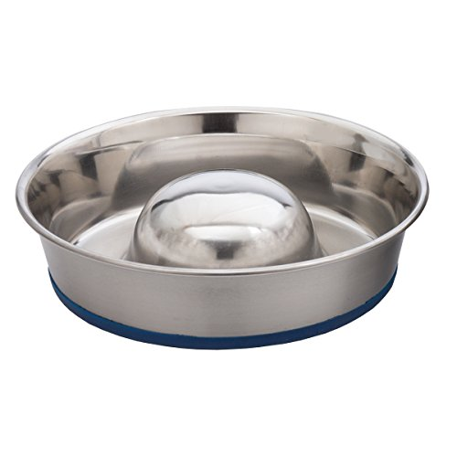 OurPets DuraPet Slow Feed Premium Stainless Steel Dog Bowl - Steel Feed