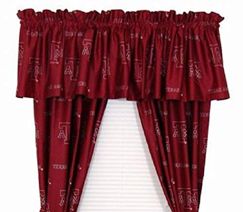 Texas A & M Aggies - (1) Printed Curtain Valance/Drape Set (Drape Length 84 Inches) to Decorate One Window - NCAA College Licensed Window Treatment