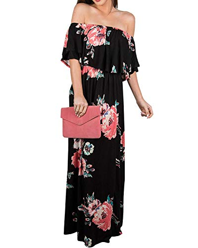 Womens Floral Off The Shoulder Dresses Summer Casual Ruffle High Waist Slit Long Maxi Dress with Pockets (3X Plus, B-Black)