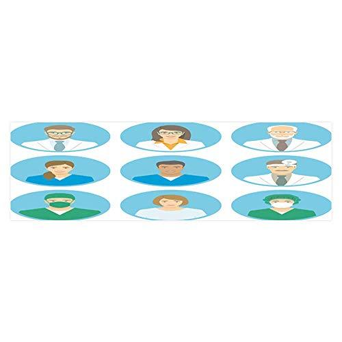 Dragonhome Fish Tank Background Medical Clinic Staff Flat Avatar Doctors, Nurses PVC Adhesive Decor Paper Sticker L23.6 x H11.8 -