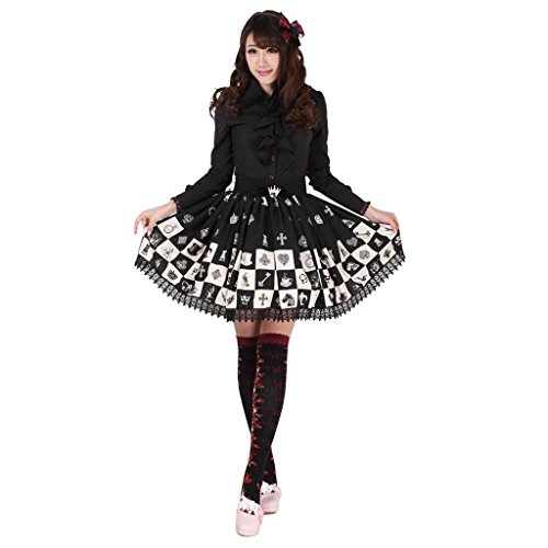 Hugme Black Polyester Lace Alice Checker Printed Lolita Skirt - Plus Size Checkers Costumes