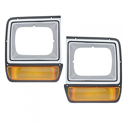 Parking Turn Signals Lights w/Headlight Bezel Trim Pair Set for Dodge D/W Truck